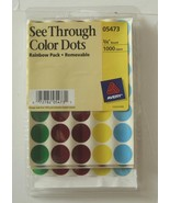 """Avery See Through Color Dots Rainbow Pack Removable 3/4"""" 1000 Labels 05473 - $11.30"""