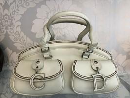 "CHRISTIAN DIOR Cream Leather Double Top Handle ""Copacabana"" Hand Bag $820 - $457.28"