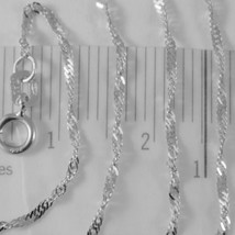 18K WHITE GOLD MINI SINGAPORE BRAID ROPE CHAIN 18 INCHES 1.2 MM MADE IN ITALY  image 2