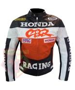 HONDA CBR ORANGE MOTORBIKE MOTORCYCLE GENUINE COWHIDE LEATHER ARMOURED J... - $194.99