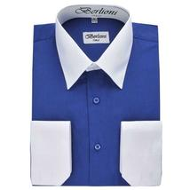 Berlioni Italy Men's Premium Classic White Collar & Cuffs Two Tone Dress Shirt image 11