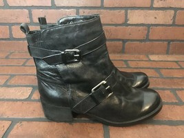 Lucky Brand Black Leather Boots With Belt Straps Size 10 - $52.11