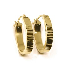 18K ROSE GOLD CIRCLE HOOPS OVAL SQUARED STRIPED WORKED EARRINGS 20 MM x 4 MM image 2