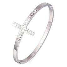 U7 Stainless Steel Rhinestone Sideways Cross Bangle Bracelet, Diameter 2... - $12.86
