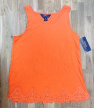 Ralph Lauren Girls' Cotton-Blend Scalloped Lace Tank, Orange, Size XL(16) - $15.83