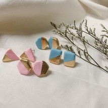 Handmade Polymer Clay Earrings | Blur and Pink Minimalist Style - $9.49+