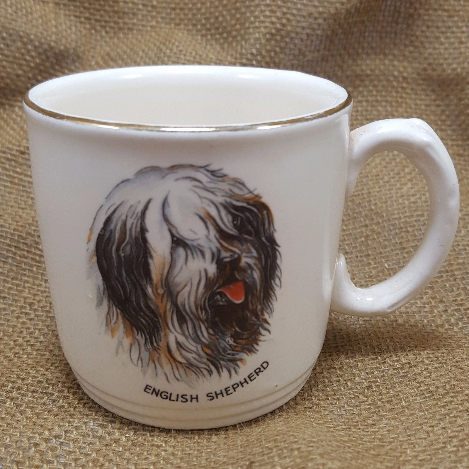 Vtg Old English Sheepdog Coffee Mug White Gold Rim England Shaggy Shepherd Dog