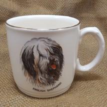 Vtg Old English Sheepdog Coffee Mug White Gold Rim England Shaggy Shephe... - $14.94