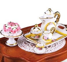 DOLLHOUSE French Rose Coffee Table Set 1.785/2 Reutter Miniature - $51.65