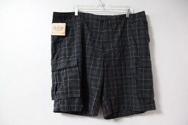 Route 66 Men's Shorts NWT Sz 42 Black Gray Plaid Cotton Summer Casual  - $10.23