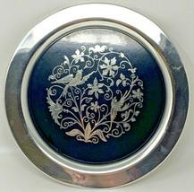 Vintage Oneida Bakelite Inlay Bird's Platter Silverplate Tray 19-2971 - $28.45