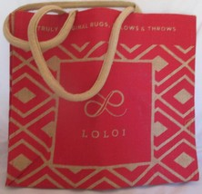 Tote LOLOI Truly Original Rugs Pillows & Throws Red Brown Canvas Bag New - $14.84