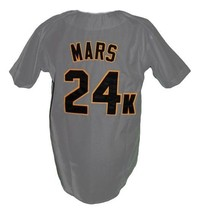 Bruno Mars 24K Hooligans Baseball Jersey Button Down Grey Any Size image 2