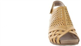 Earth Leather Perforated Wedge Sandals-Pisa Galli Amber Yellow 8M NEW A346894 image 2