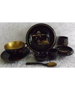 Aizuwa Kamaisu Rice Bowls & Service Set (37 pieces) Vintage Japanese Lac... - $28.48