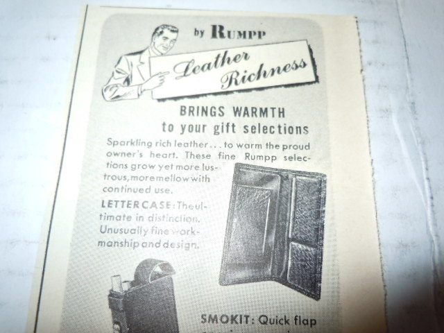Vintage Rumpp Men's Leather Wallets Print Magazine Advertisement 1946