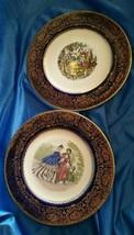 Vintage Imperial Salem China Service Plate Blue W/ 23K Gold Rim Set of 2... - $50.00