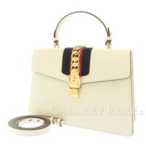 GUCCI Sylvie Leather Off White 2Way Chain Shoulder Bag 431665 Italy Auth... - $1,705.04