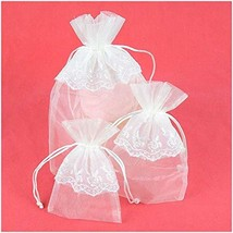 VU100 Wedding Organza Bags/Pouches Lace Flower Decor Drawstrings, Premiu... - $13.79