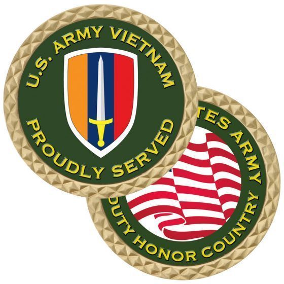 "UNITED STATES ARMY VIETNAM PROUDLY SERVED 1.75"" CHALLENGE COIN"
