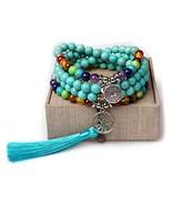 Turquoise - Mala Beads Tassel Necklace - Mala Bracelet - Mala Necklace -... - $25.94
