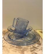 Vintage INDIANA GLASS TIARA Child's Set BLUE Nursery Rhyme Themed Dishes - $25.00