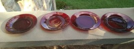 """Set of 4 Ruby Red Glass luncheon  7.75"""" Luncheon salad plates - $22.00"""