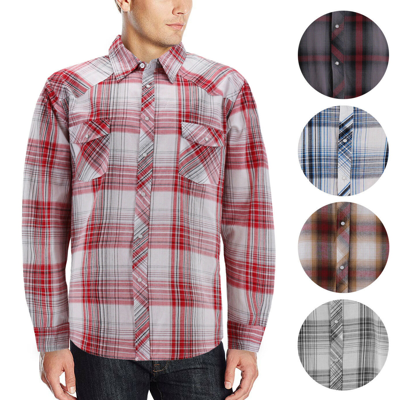 Men's Pearl Snap Button Down Casual Western Long Sleeve Plaid Cowboy Shirt
