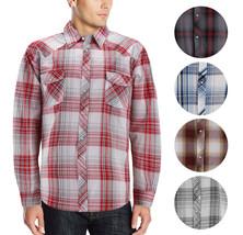 Men's Pearl Snap Button Down Casual Western Long Sleeve Plaid Cowboy Shirt