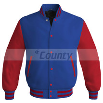 New Super Letterman Baseball College Bomber Jacket Sports Royal Blue Red... - $49.98+