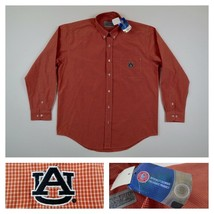 Auburn Tigers Mens Orange Checks Long Sleeve Button Front Dress Shirt Si... - $39.99