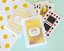 100 Personalized Gold or Silver Foil Playing CARDS Birthday Bridal Weddi... - $109.20