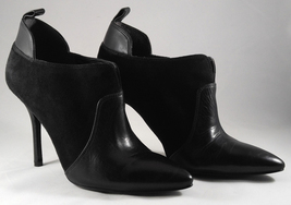 Enzo Angiolini Prixia Black Leather Suede Heels Shoes Ankle Boots Booties Size 8 - $49.95