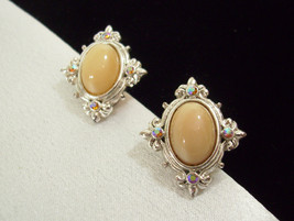BEIGE OVAL Cab AB Rhinestones Silver Plate Ornate Clip Earrings Vintage ... - $14.84