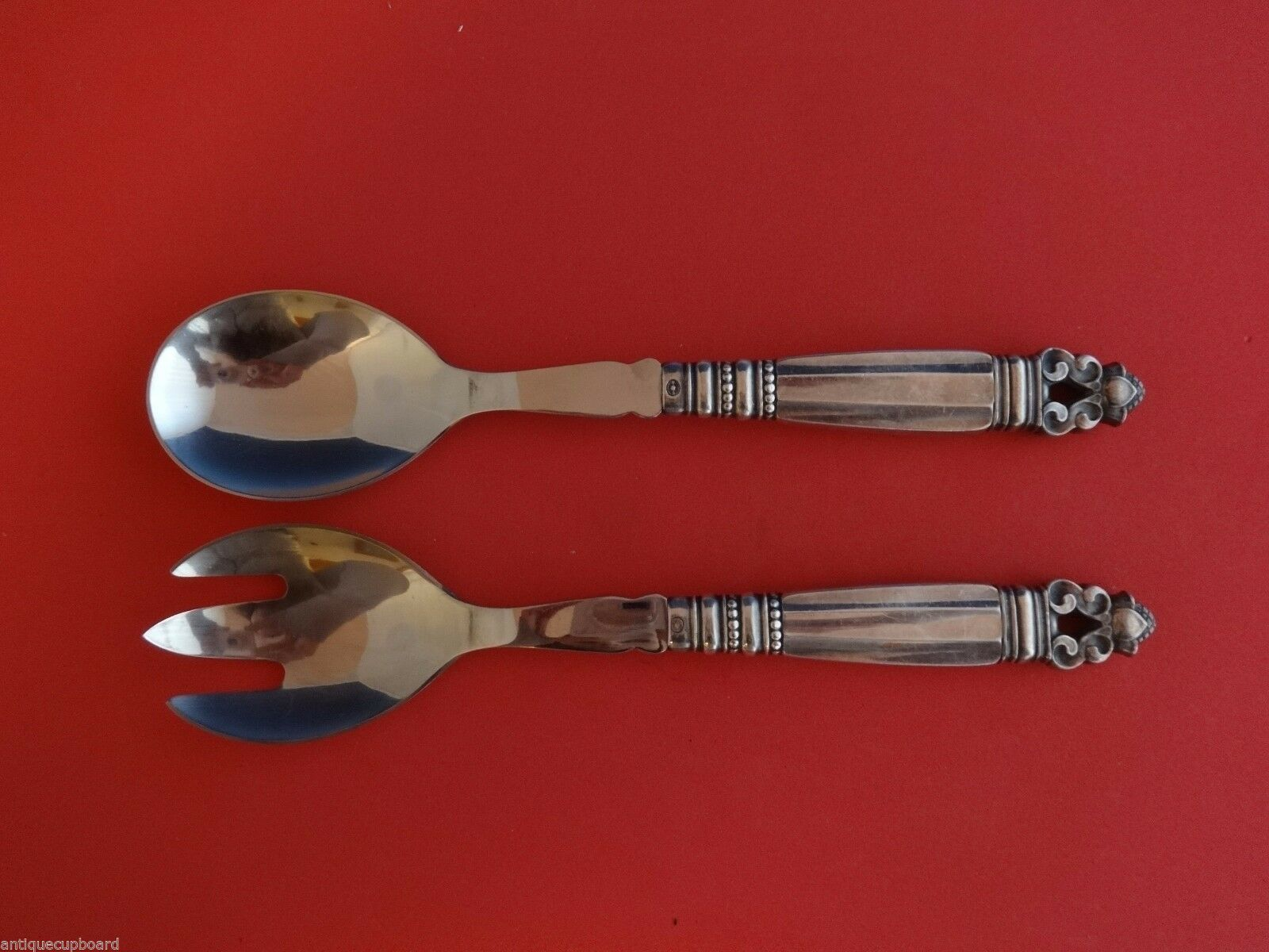 Acorn by Georg Jensen Sterling Silver Salad Serving Set 2pc with Steel 8 5/8""