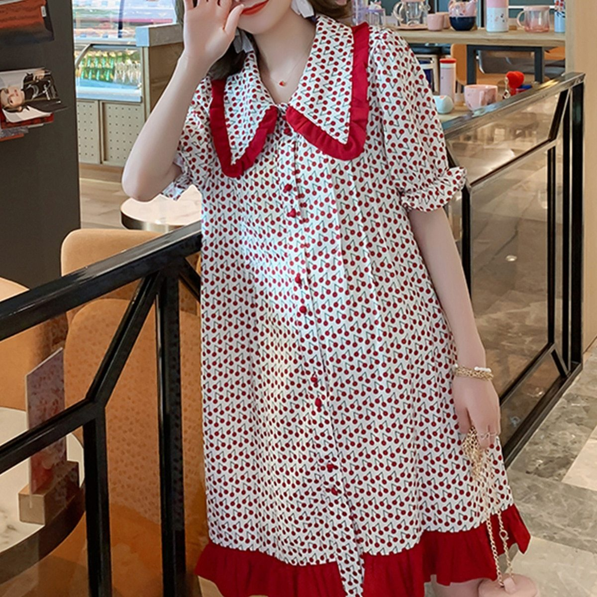 Maternity Dress Cherry Printed Turn Down Collar Short Sleeve Loose Dress image 3