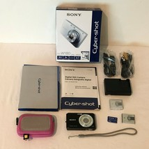 Sony Cyber Shot DSC W180 Digital Camera Black 10.1 MP 3x Zoom Case Many ... - $59.99