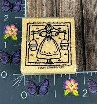 Stampin' Up! Girl Holding Two Buckets Rubber Stamp 2001 Weight Balance #... - $2.72