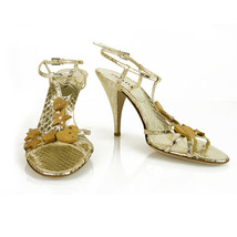 Prada Gold Snakeskin Slingback Heels Strappy Shoes Pumps sz 38.5 wooden charms - $222.75