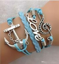 DIY Infinity Charm Antique Cross fashion Leather Bracelets Multilayer Heart Tree image 7