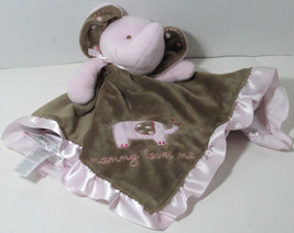 Carters MOMMY LOVES ME Brown Pink ELEPHANT LOVEY RATTLE Soft Toy Satin Trim - $14.84