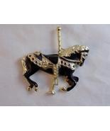 "CAROUSEL HORSE PIN 2 BLACK ENAMEL & GOLD Tone W/ RHINESTONE ACCENTS .5"" - $7.91"