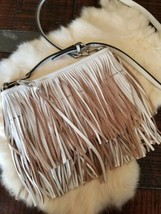 REBECCA MINKOFF FINN Leather Swing Tiered Fringe Clutch/Crossbody Bag White - $98.01