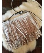 REBECCA MINKOFF FINN Leather Swing Tiered Fringe Clutch/Crossbody Bag White - $89.00