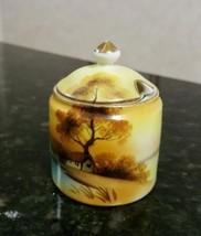 EUC Noritake Tree On Lake Mustard Pot w/ Lid M in Wreath Back stamp - $24.50