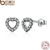 Sterling Silver Be My Valentine Heart Stud Earrings Clear Cz Femme Stud-... - $219,71 MXN