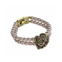 "HEIDI DAUS ""Showered With Flowers"" Crystal Pink White Beaded Floral Brac... - $1.919,69 MXN"