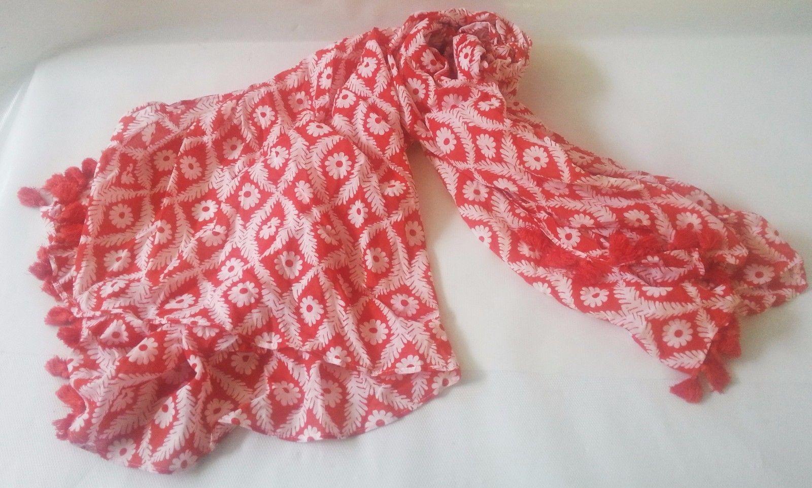 "Stella & Dot Capri Wrap Geranium Pink Floral Cotton Blend 44""x54"" Scarf With bag"