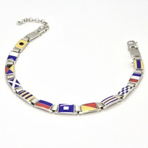 Silver 925 Bracelet Rhodium with Flags Nautical Glazed Tiles Made in Italy image 2