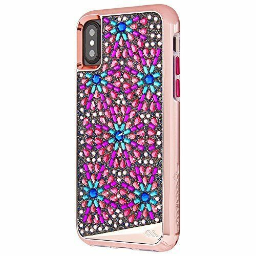 iPhone X ?S Case TPU Mil Grade Metalic Buttons Rugged Cover Crystals Multicolor